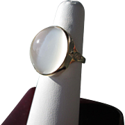 SOLD 18kt Large Oval Grey Moonstone/Diamond Ladies Ring