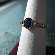 9kt Yellow Gold Oval Cut Deep Blue Sapphire and Diamond Ladies Ring