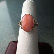9kt Yellow Gold/Sterling Silver Deep Pink Angel Skin Coral and Diamond Ladies Ring