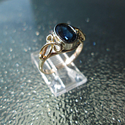 14-10kt Gold Deep Blue Oval Faceted Sapphire Artisan Ladies Ring