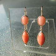 14kt Yellow Gold Oval and Marquise Shape Angel Skin Coral Dangle Artisan Earrings