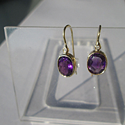 14kt Yellow Gold Wisteria Purple Amethyst and Diamond Dangle Artisan Earrings