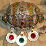 Giant Berber Silver Enameled Ball Pendant with French Coins