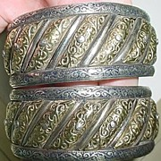 Intricate Moroccan Gold/Silver Sun Moon Bracelet Pair
