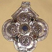 Large Antique Silver Hamsa Pendant by Jewish Smith