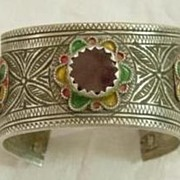 Silver Berber Enameled Open Bangle w Red Glass Stone No. 1