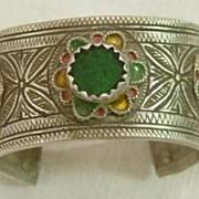 Silver Berber Enameled Open Bangle w Green Glass Stone No. 3