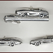 SALE Too Cool SWANK Sports Car Cufflinks & Tie Clip Silver Tone