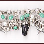 SALE RARE Selro Black African Face Viking Theme Charm Bracelet