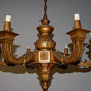 Antique Italian Finest Carved Wood 6-light and Gilded Chandelier