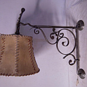 Unique - Quality Hand made Wrought Iron Art Wall Lamp with Shade