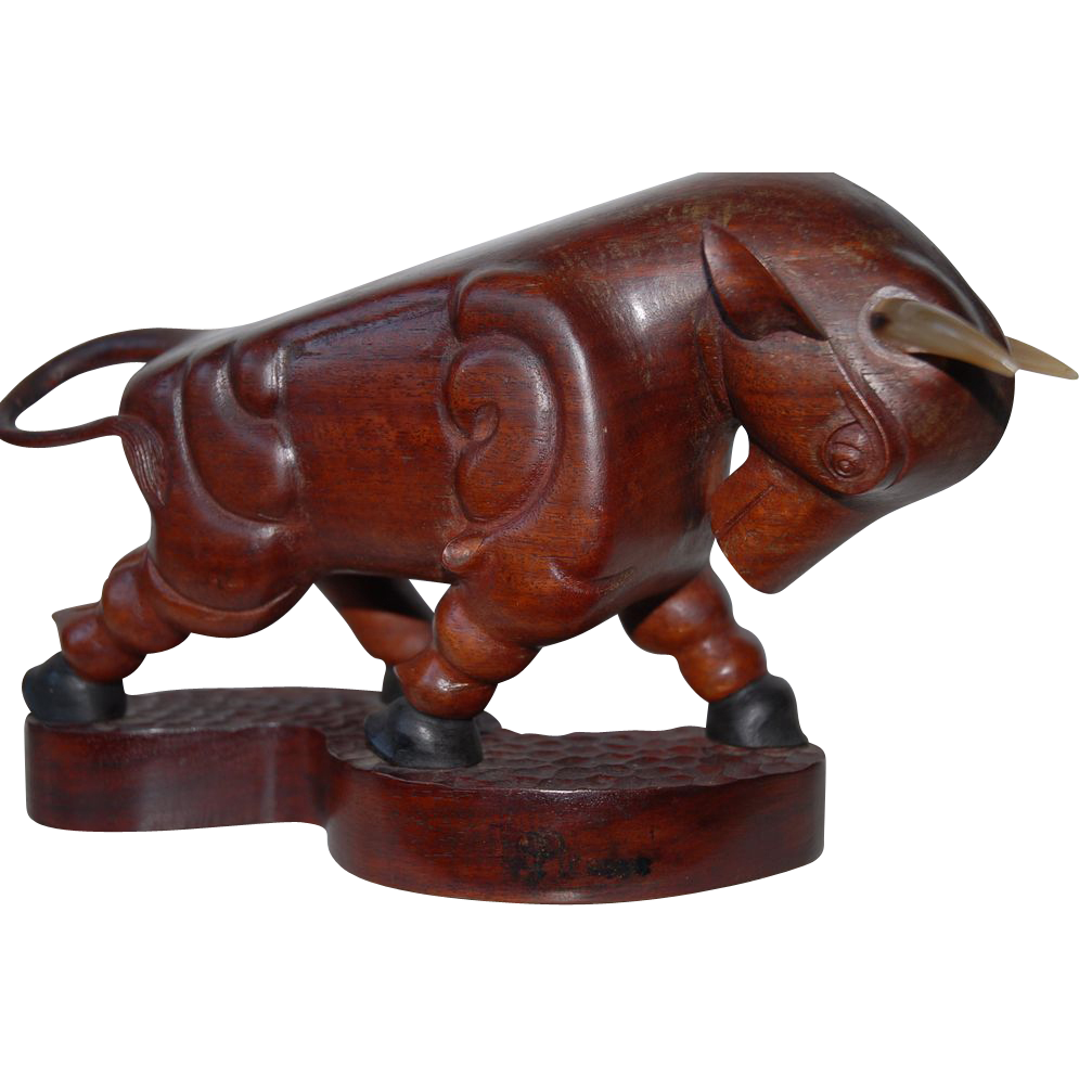P.Picasso  Rare  Vintage Quality Hand Carved in Wood Bull Sculpture