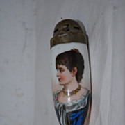 Two Porcelain Pipe Bowls Fine Hand Painted Female Portraiture