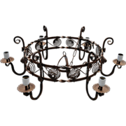 Huge Antique Quality Wrought Iron Art 6-light Round Castle Chandelier