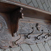 Gorgeous French Carved Wood(oak) Figural Wall Coat Rack