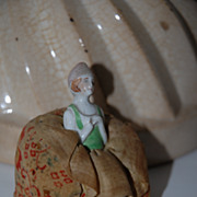 Beautiful Original Pincushion with Porcelain Doll