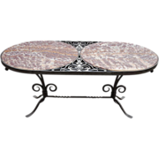 1920s French Rare Wrought Iron and Marble Oval Coffee Table