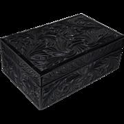 A Finely Quality Hand Carved Ceylonese Ebony Box Case , CEYLON