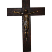 Art Nouveau Finest Quality Wooden Bronze Wall Crucifix