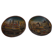 Pair French Antique Carved Wooden Bowls with Village Decor