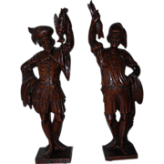 Pair of Quality Finely Carved Merchants Figures