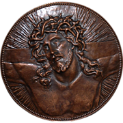 "A Huge 25"" Antique Copper Jesus Wall Relief / Plate"