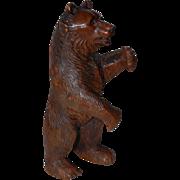 Huge Antique  Victorian era Black Forest Bear Hand Carved Pipe Holder Stand
