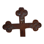 Beautiful Vintage Decorative Carved  Wood Wall Cross