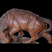 Superb This Large Vintage Fine Hand Carved Wood Bull Sculpture