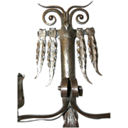 A Wrought Iron Art Owl Wall Sconce