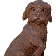 Rare Black Forest Carved Schnauzer Dog Hound Match Holder