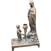 SOLD Virgin Mary Our Lady Lourdes & St Bernadette Statue Figurine
