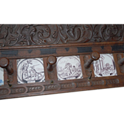 18thC. Antique Carved Wood(oak) Coat Rack with 6 Tiles, Biblical Scene