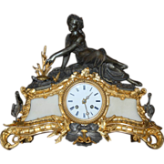 Gilt and Silver-Patinated Bronze Female Goddess Mantel Clock