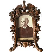 Black forest Carved Wood Picture Frame with Eagle on the Top