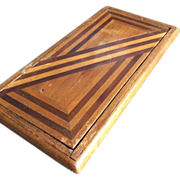 Antique Parquetry Inlaid Wood Cigarette Case Holder