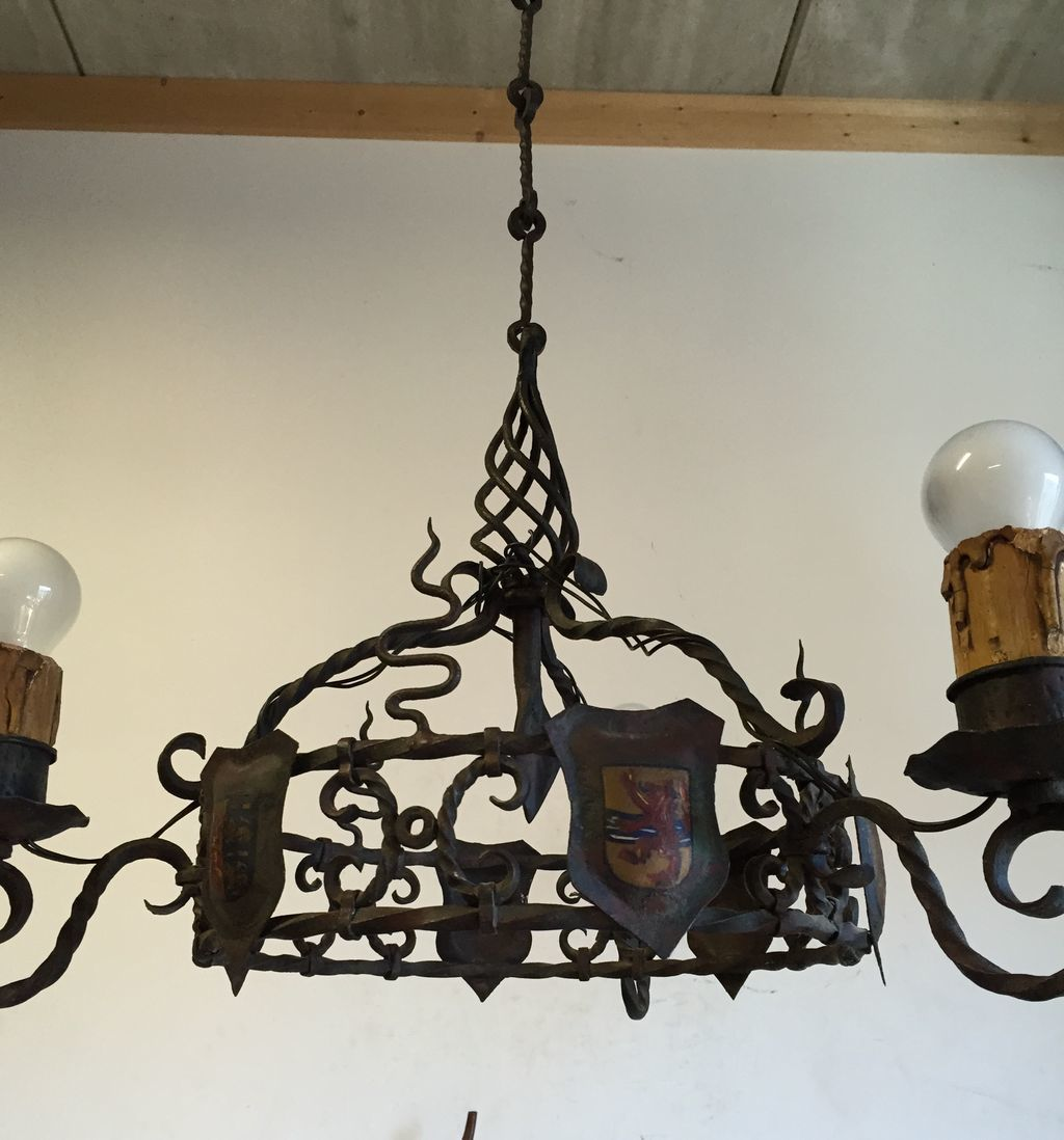 castle shield rustic wrought iron chandelier from