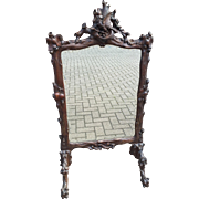 Black Forest Carved Fireplace Screen w Mirror