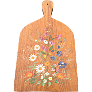 Vintage Oak Wood Bread Board / Cutting Board w. Painted Flower Decor
