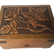 Art Nouveau Carved Wood Jewelry Box -Casket