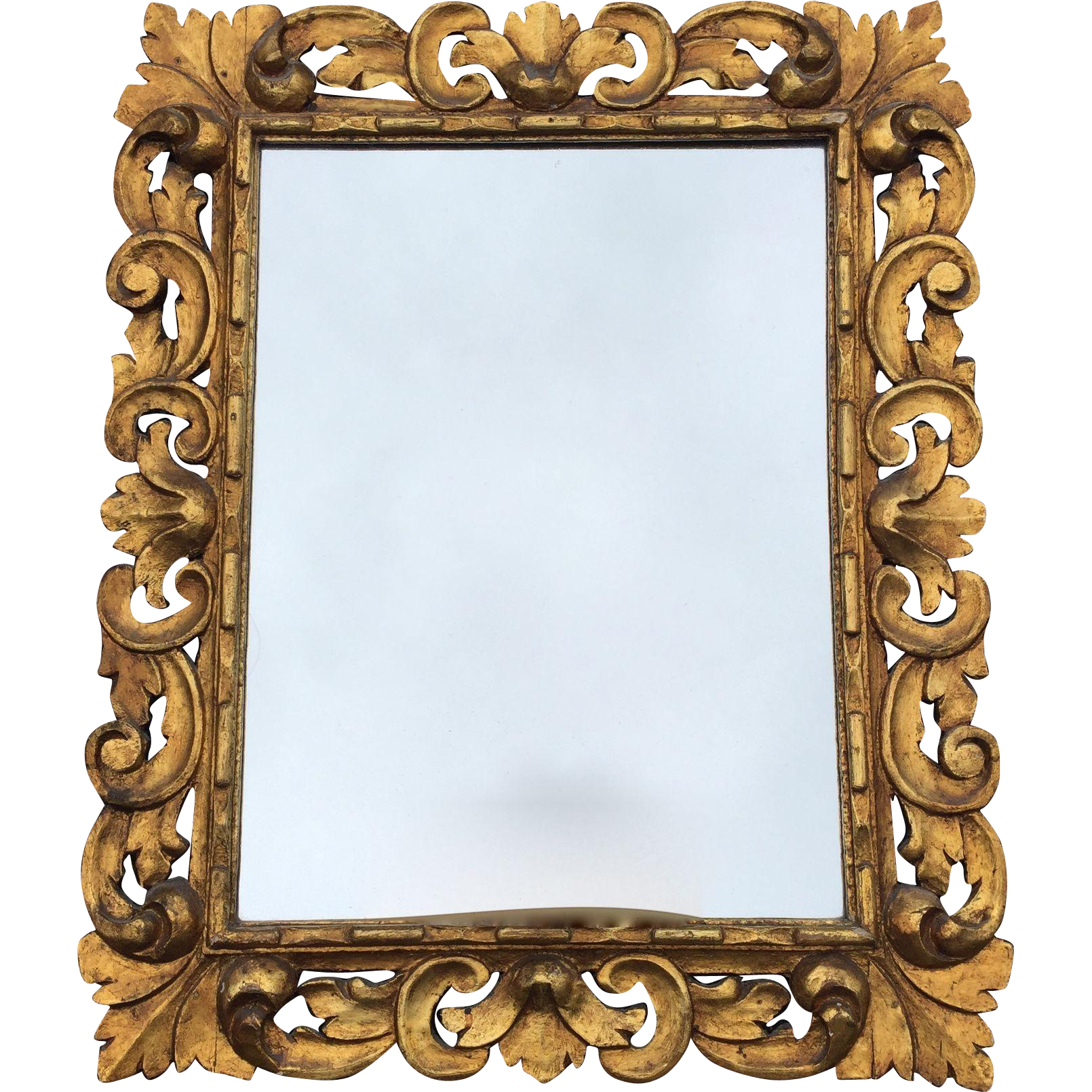 Beautiful antique baroque style scrolled carved wood wall for Baroque style wall mirror