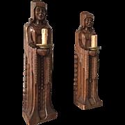 Antique Pair Oak Cloister Figure Wall lights - Sconces Sculptures