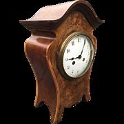 Art Nouveau Style Walnut Mantel - Bracket Clock with Inlaid Floral Design