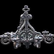 Huge French Rustic Wrought Iron Art 8-light Castle Chandelier