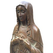 Antique Bronze Immaculate Heart of Holy Mary Statue - Sculpture