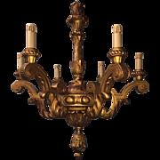 Antique Carved in Wood 6-light Chandelier