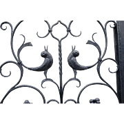 Vintage Wrought Iron Art Entry Door w. Dragon - Bird Design