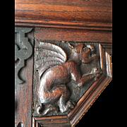 Carved Oakwood Gothic Art Mirror with Gargoyle