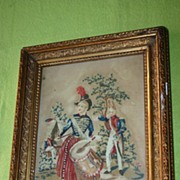 SALE An Antique Framed Needle Work Picture after Glass, 18thC