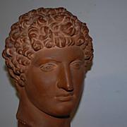 SALE Vintage Art Roman Head on a Wooden Base, David from Michelangelo
